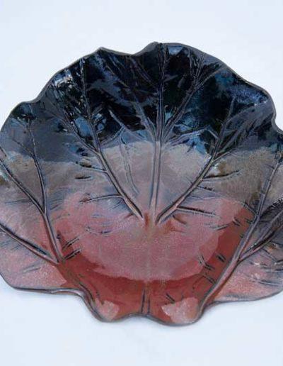 Rhubarb leaf bowl in dark blue and rusty brown #43 Ontario pottery